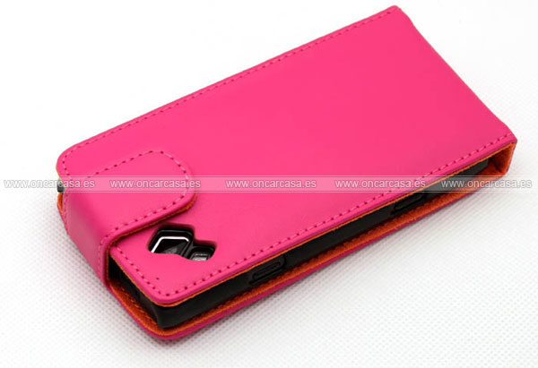 Funda de cuero samsung s8530 wave 2 cover case rosa for Housse samsung wave