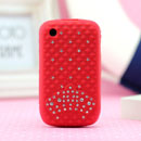 Funda Blackberry Curve 8520 Diamante Bling Carcasa Silicona Gel - Rojo